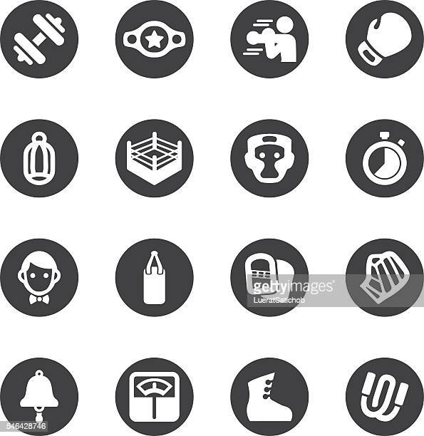 boxing circle silhouette icons | eps10 - boxing glove stock illustrations