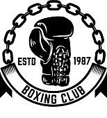 Boxing club. Emblem with boxing hand drawn boxing glove. Design element for label, emblem, sign.