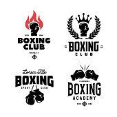 Boxing club labels set. Vector vintage illustration.