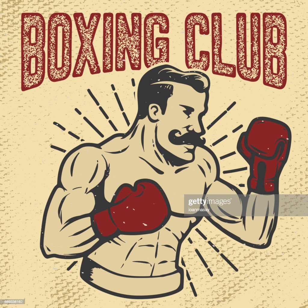 Boxing club. Vintage style boxer on grunge background. Design element for poster, t-shirt, emblem. Vector illustration.