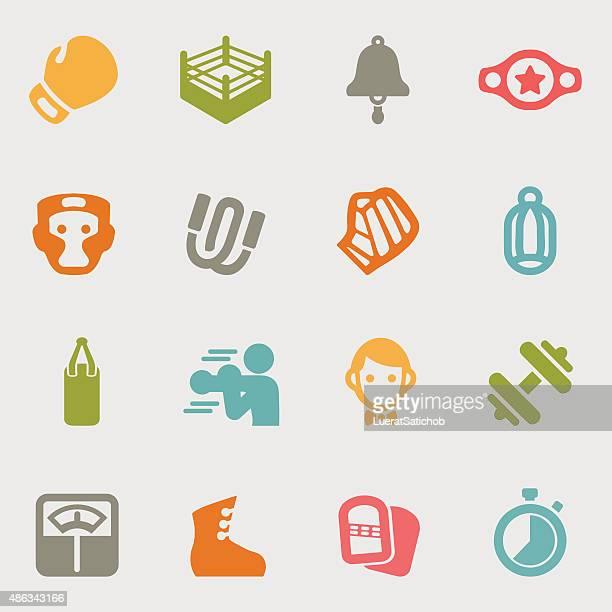 ilustrações de stock, clip art, desenhos animados e ícones de boxe variação de cor de ícones/eps10 - luva de boxe