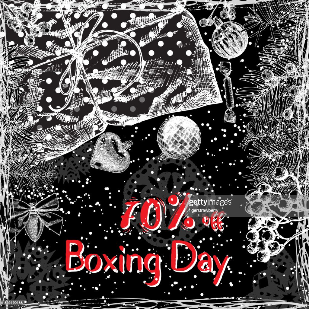 Boxing Day 70% off, text design with handdrawn  typography and holiday frame on black background. For  banner, greeting card, gifts and shopping.