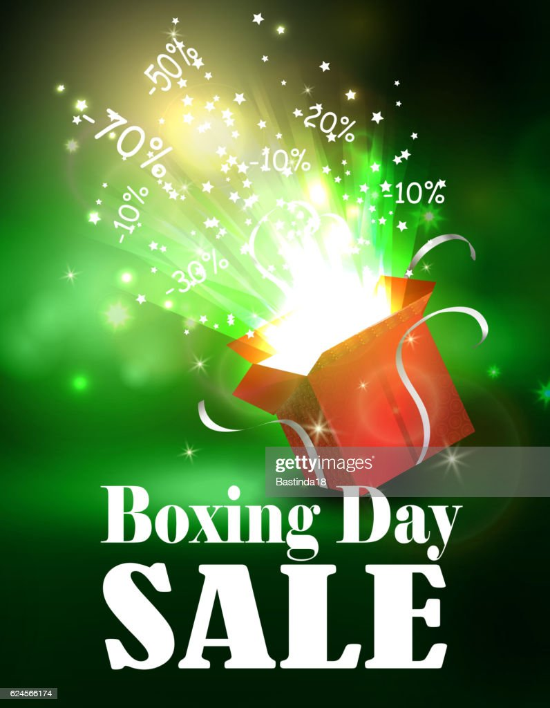 Boxing day background with open red box