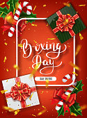 Boxing day banner design. Lettering calligraphy. New Year holidays, traditions. Gift boxes top view. Festive Christmas vector illustration