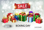 Boxing Day. Gift Box presents set. Winter Holiday Sale banner bokeh light background vector