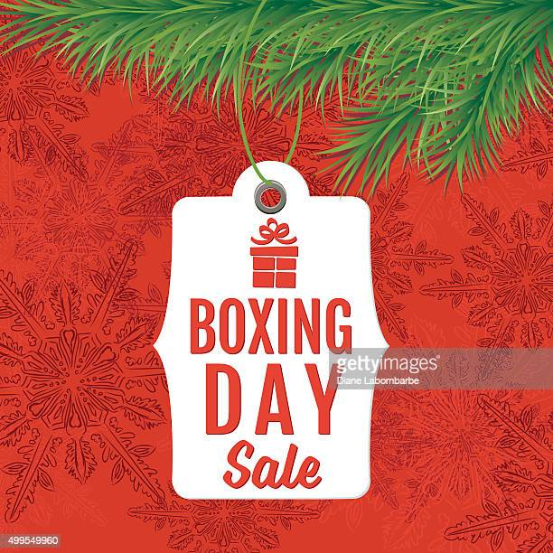boxing day holiday sale tags hanging for an evergreen bough - boxing day stock illustrations