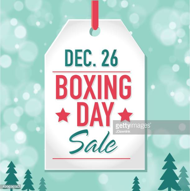 boxing day sale advertisement with label and bokeh background - boxing day stock illustrations