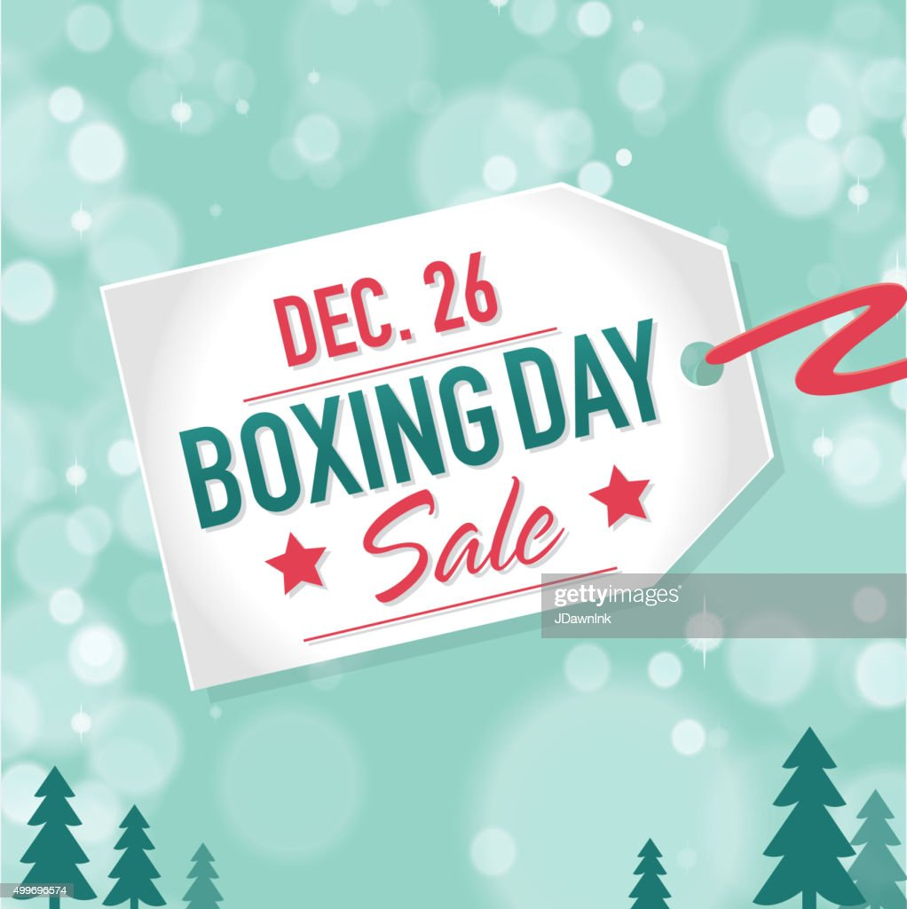 Boxing Day Sale advertisement with label and bokeh background