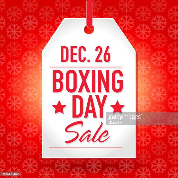 boxing day sale advertisement with red tag and sample text - boxing day stock illustrations