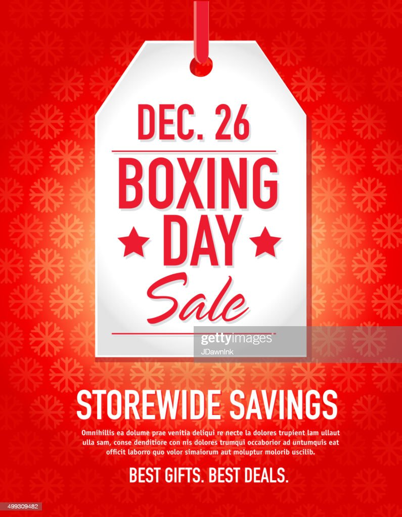 Boxing Day Sale advertisement with red tag and sample text