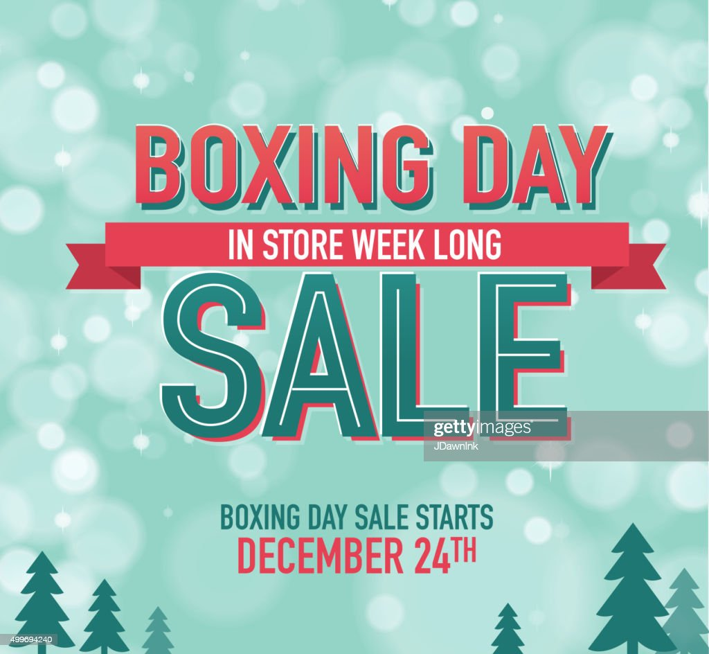 Boxing Day Sale advertisement with text designa and bokeh background