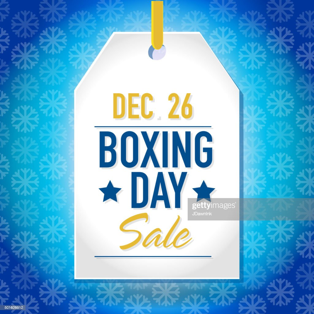 Boxing Day Sale advertisement with white tag and sample text