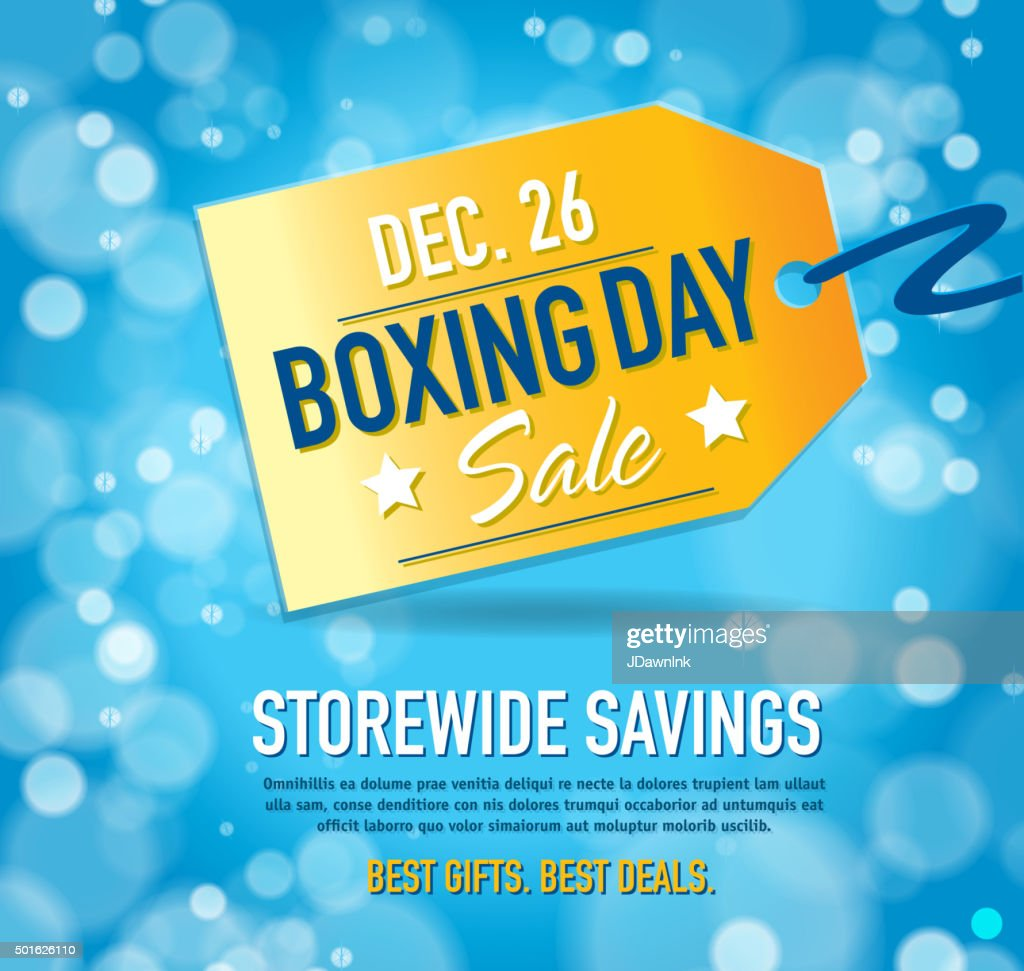 Boxing Day Sale Advertisement With Yellow Tag And Sample Text Vector