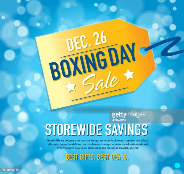 boxing day sale advertisement with yellow tag and sample text - boxing day stock illustrations
