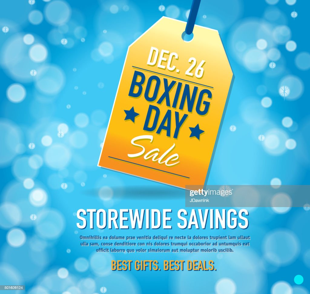 Boxing Day Sale advertisement with yellow tag and sample text
