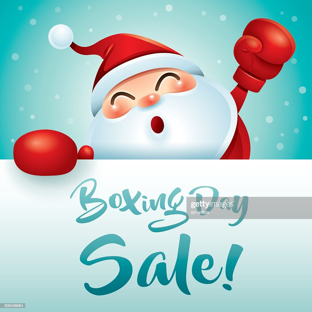 Boxing Day Sale! Santa Claus with red boxing glove.