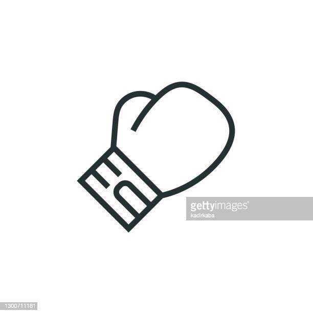 illustrations, cliparts, dessins animés et icônes de icône de ligne de gant de boxe - combat sport