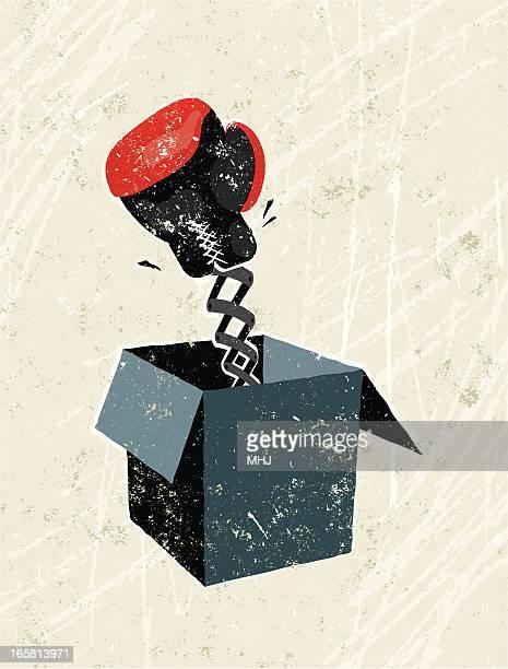 illustrations, cliparts, dessins animés et icônes de gant de boxe balade dans une boîte - diable à ressort