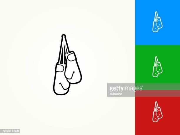 ilustrações de stock, clip art, desenhos animados e ícones de boxing gloves black stroke linear icon - luva de boxe