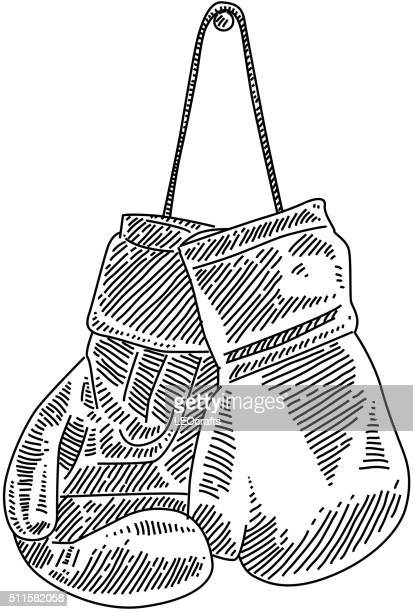 illustrations, cliparts, dessins animés et icônes de gants de boxe de tirage - gant de boxe
