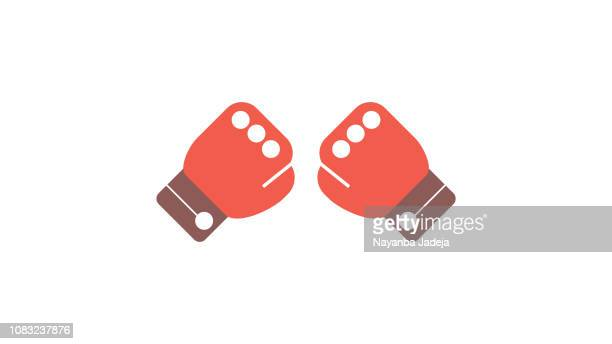 boxing gloves fight icon - knockout stock illustrations