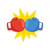 Boxing gloves fight icon