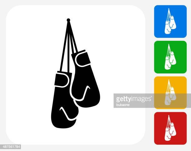 boxing gloves icon flat graphic design - boxing glove stock illustrations