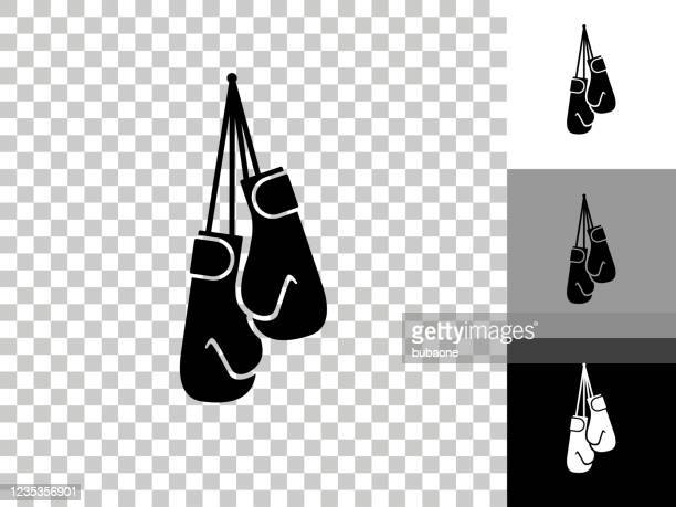 boxing gloves icon on checkerboard transparent background - boxing glove stock illustrations