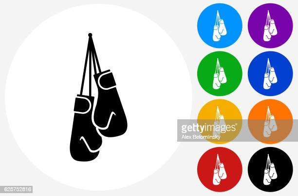 ilustraciones, imágenes clip art, dibujos animados e iconos de stock de boxing gloves icon on flat color circle buttons - guante de boxeo