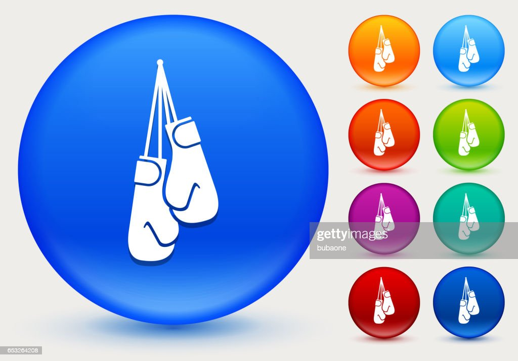 Boxing Gloves Icon on Shiny Color Circle Buttons : Vector Art