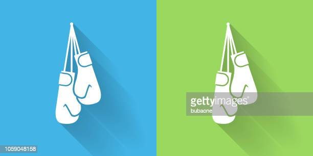 boxing gloves icon with long shadow - boxing glove stock illustrations