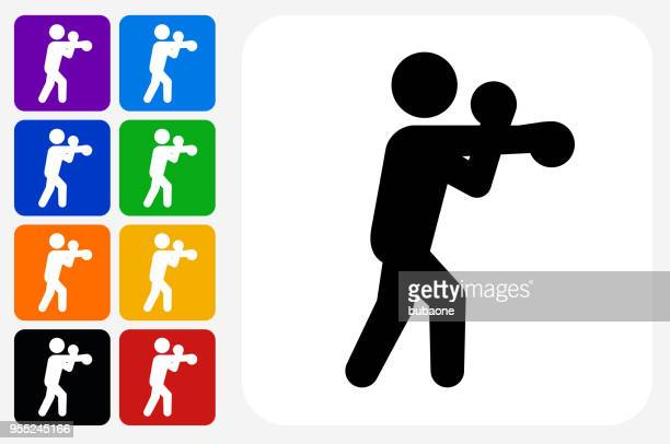 boxing icon square button set - combat sport stock illustrations, clip art, cartoons, & icons