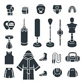 Boxing icons flat vector silhouettes icons