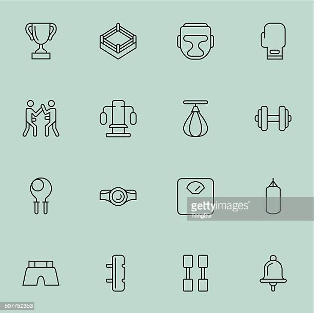 illustrations, cliparts, dessins animés et icônes de boxe icônes-léger de couleur - gant de boxe