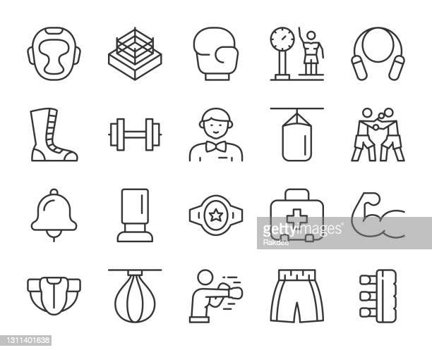 boxing - light line icons - sport set competition round stock illustrations