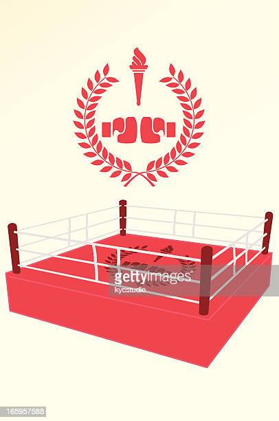 boxing poster and emblem - boxing ring stock illustrations
