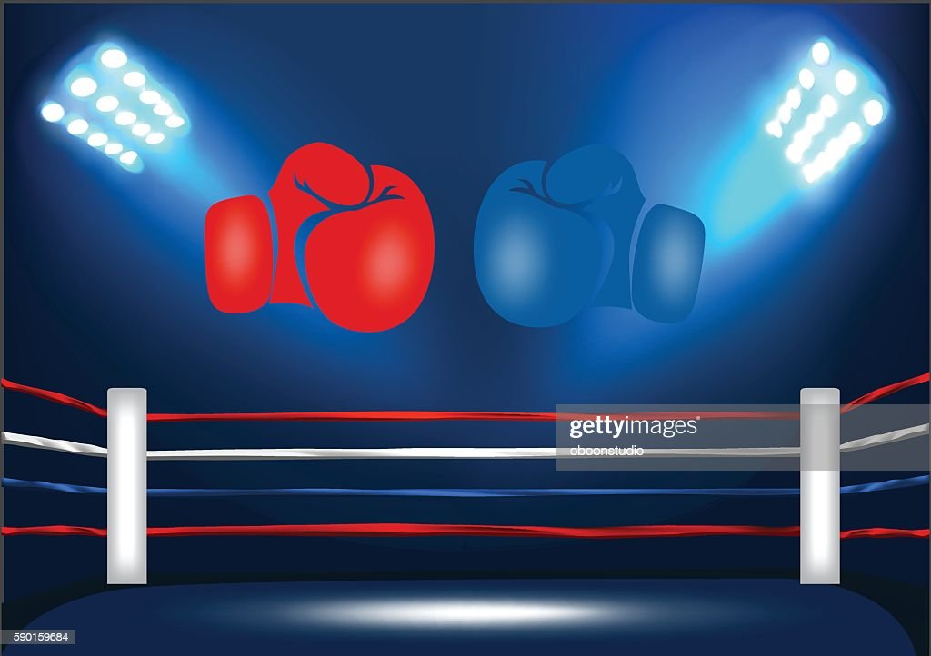 Boxing ring corner with 2 gloves