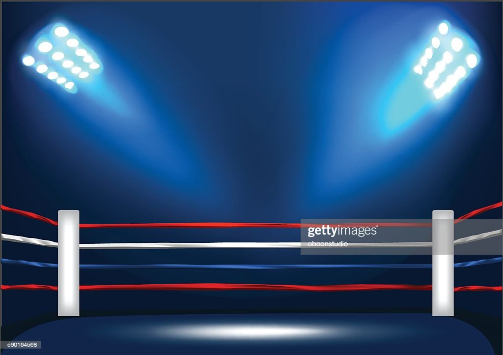 Boxing ring corner with spotlight
