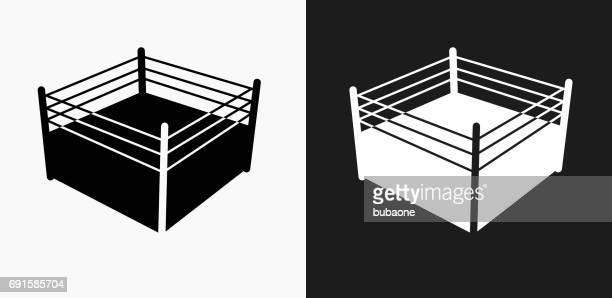 boxing ring icon on black and white vector backgrounds - boxing ring stock illustrations