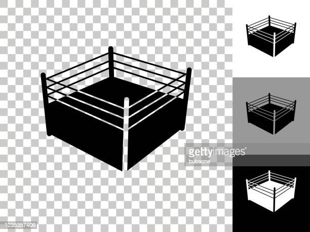 boxing ring icon on checkerboard transparent background - boxing ring stock illustrations
