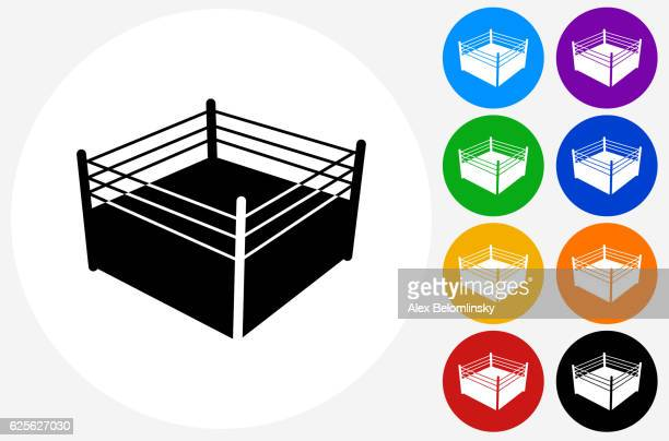 Boxing Ring Icon on Flat Color Circle Buttons
