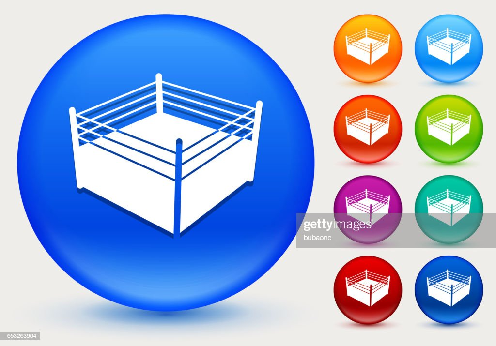 Boxing Ring Icon on Shiny Color Circle Buttons : Vector Art