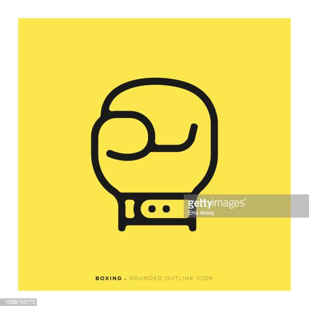 boxing rounded line icon - knockout stock illustrations