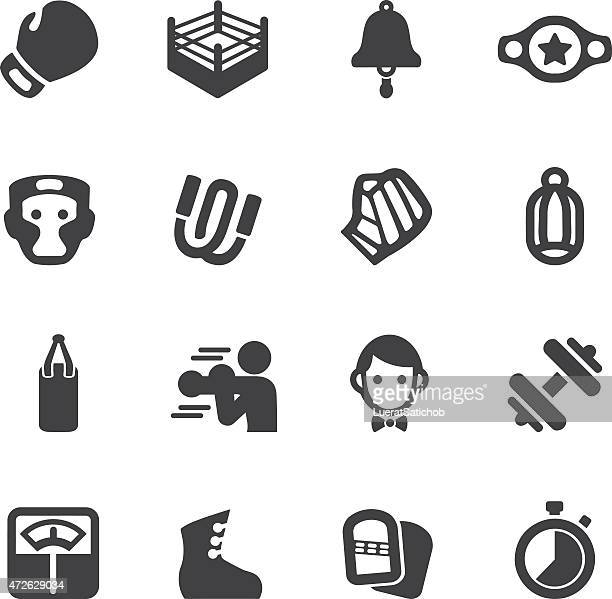 boxing silhouette icons | eps10 - dumbbell stock illustrations