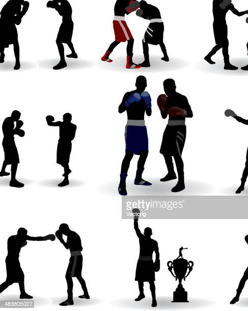 boxing silhouette - stage set stock illustrations
