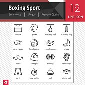 Boxing sport elements vector black icons set on white background.
