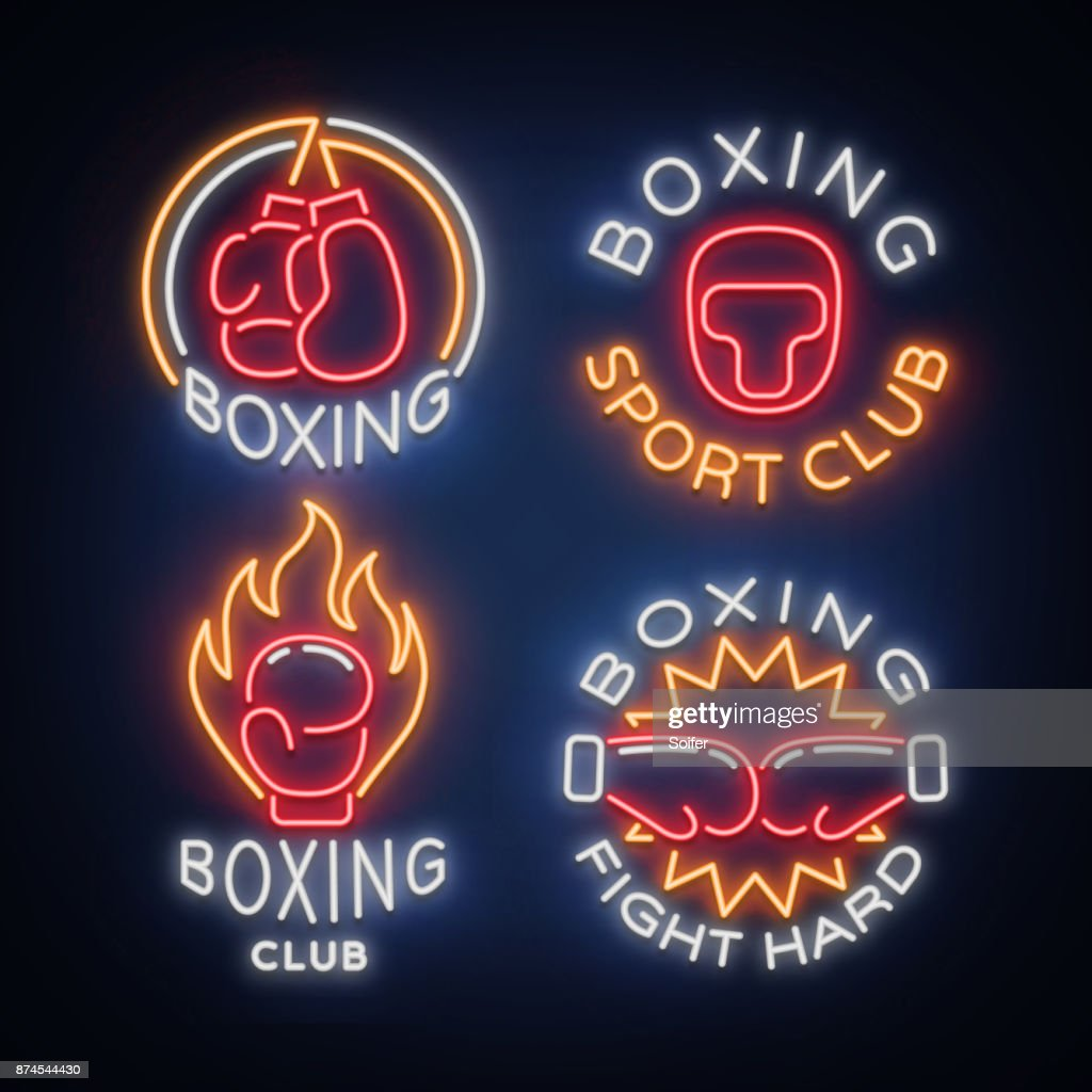 Boxing Sports Club set of icons in a neon style, vector illustration. Collection of neon signs, emblems, symbols for a sports facility on a boxing theme. Neon banner, bright nightlife advertisement
