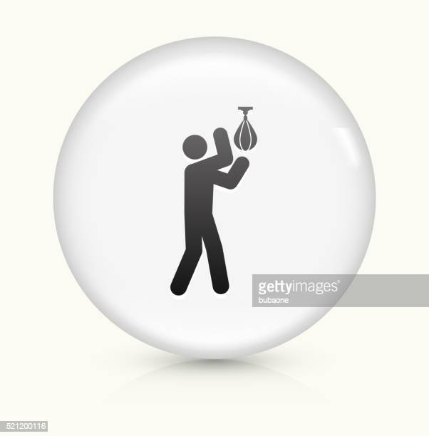 boxing stick figure icon on white round vector button - fighting stance stock illustrations, clip art, cartoons, & icons