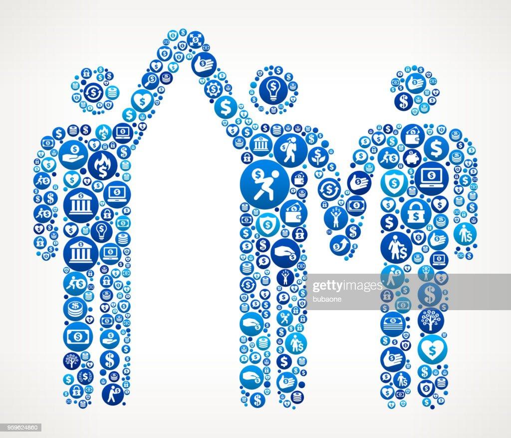 Boxen Gewinner Geld blaues Symbol Muster Hintergrund : Stock-Illustration