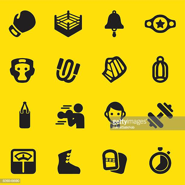Boxing Yellow Silhouette Icons | EPS10